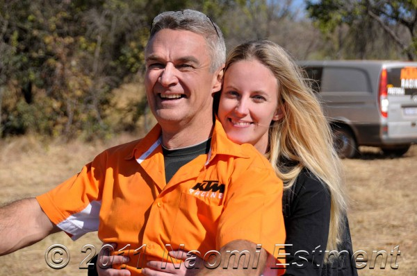 KTM rider Dave Estment with his daughter on a motorbike