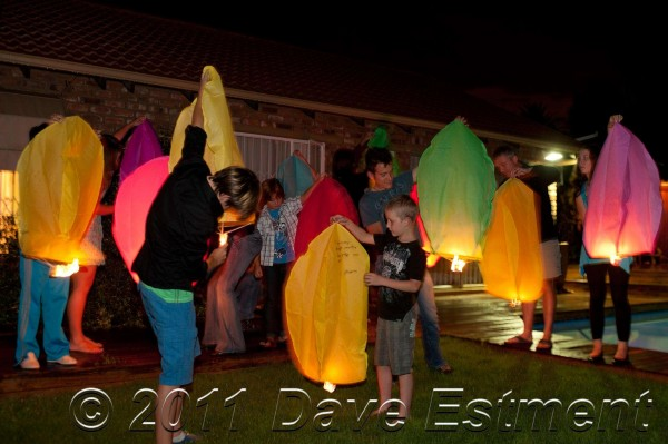Sky Lanterns being lit at New Year celebrations