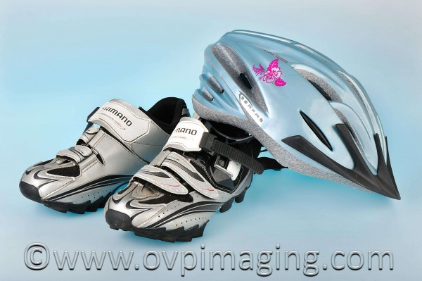 Cycling shoes and helmet, photographed by Naomi Estment of OV&P Studio